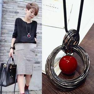 Fashion-Circle-Red-Pearl-Pendant-Statement-Long-Chain-Sweater-Necklace-Jewelry