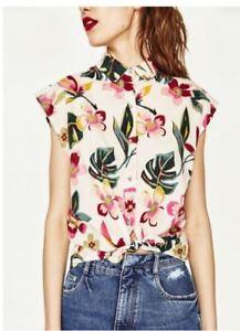 3D White Floral Chiffon Shirt #A1345