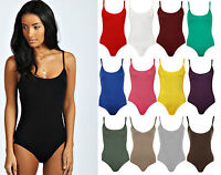 New Womens Strappy Sleeveless Ladies Camisole Vest Bodysuit Leotard Top 8-14