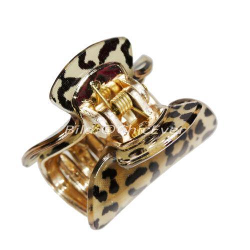 6x Haargreifer S aus Acryl 3,8cm Leopard schwarz braun gold Haarspange 8133b