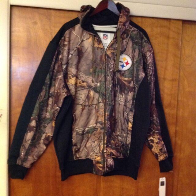 brand new 4e54c fbdbd Pittsburgh Steelers NFL Huntsman Majestic Camo Hoody Sweatshirt Jacket Size