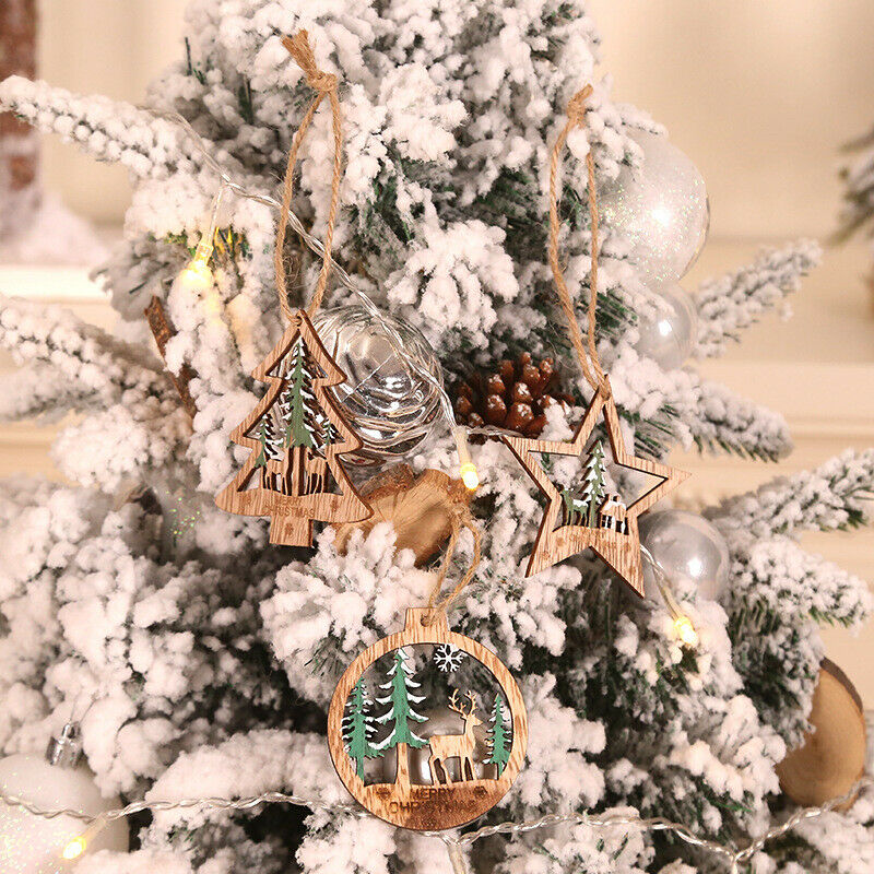 6pcs Xmas Pine Cones Logs//snow White Christmas Tree Hanging Pendant Decor·