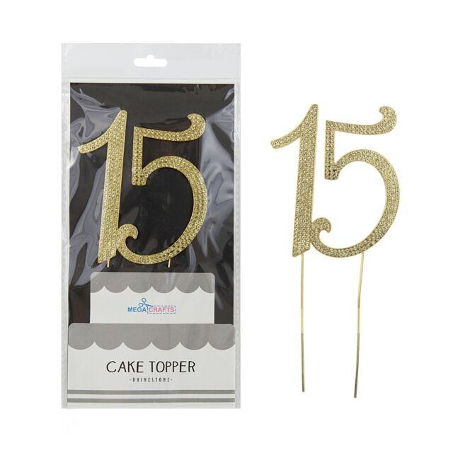 Mega Crafts - Sparkling Rhinestone Number 15 Cake Topper - Gold, 1PC