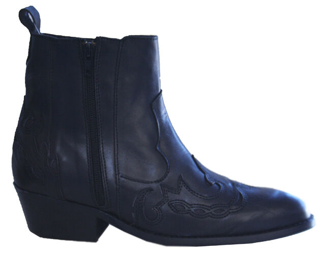 Mens Ankle Boots Double Zip Genuine Black Leather Lined Cowboy Western Boots