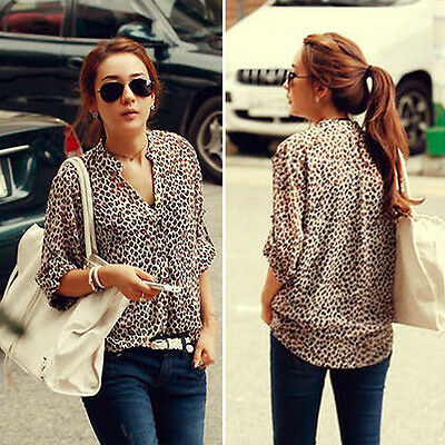 Women S M L XL Chiffon Sexy Leopard Print Summer Shirt Top Button Down Blouse Z