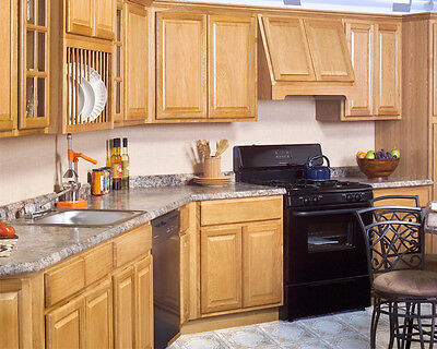 All Wood Rta 10x10 Country Oak Kitchen Cabinets With Finger Grip Plywood Box Ebay