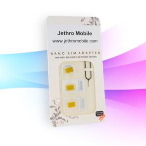 Jethro SIM Card Adapter 4 in 1 Nano Micro Mini SIM Card Adapter Kit Converter