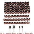 """100pcs 1/2 3/8"""" Drum Sanding Sleeves Kit Sandpaper Rubber 4 Mandrels For Dremel"""