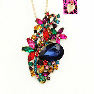 Women-039-s-Crystal-Big-Flower-Pendant-Chain-Betsey-Johnson-Necklace-Brooch-Pin