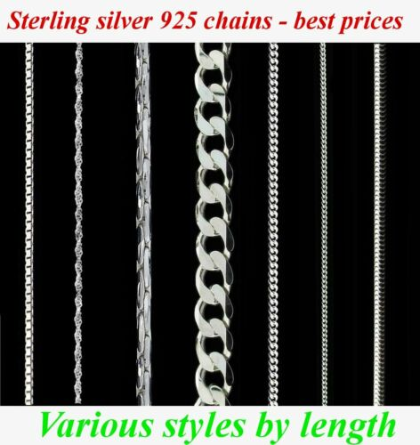 by length New 925 Sterling silver chains necklace,many styles and sizes