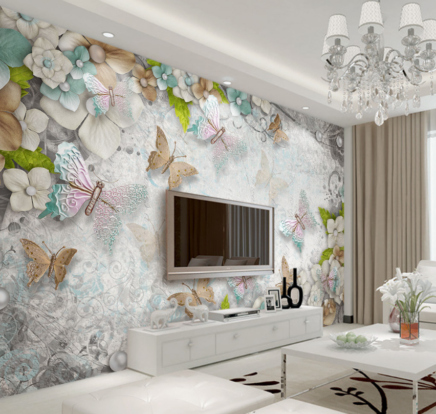 3D Butterfly Flowers 1712 Paper Wall Print Wall Decal Wall Deco Indoor Murals