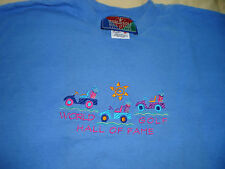 Men's size Medium World Golf Hall of Fame Blue  Tee Shirt with Golf Carts