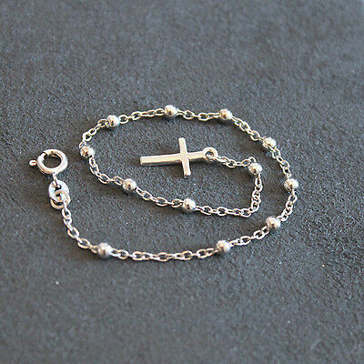 """Solid Sterling Silver Rhodium Plated Rosary Bracelet With Cross Charm, 7.25"""""""