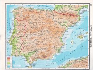 1961 Map Spain Portugal Porto Madrid Barcelona Sevilla Ebay