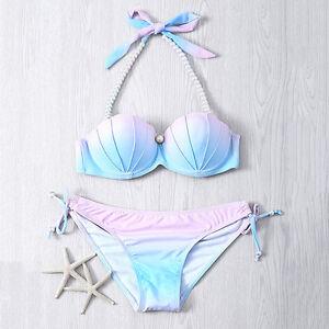 Womens-Bikini-Set-Mermaid-Shell-Bra-Swimwear-Padded-Push-up-Swimsuit-Hot