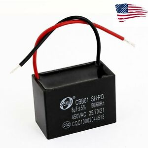 US-CBB61-AC450V-8uF-Black-Rectangle-Air-Conditioner-Fan-Motor-Running-Capacitor