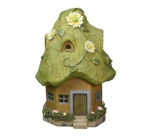 """Exhart Solar Powered Cottage Moss Roof Fairy Hand-painted Durable Resin 14/"""""""