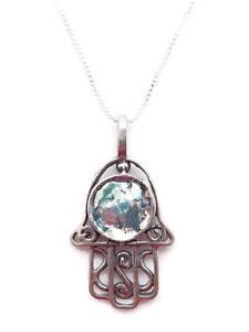 ANGIE-OLAMI-Opalescent-Roman-Glass-Open-Hamsa-Sterling-Silver-Pendant-Necklace