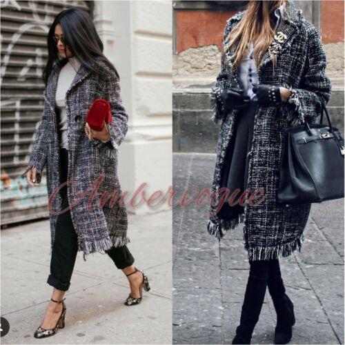 Taille bords Uk laine Zara New S 8 dégradés en long noire à mi Manteau q8p8w47Zv