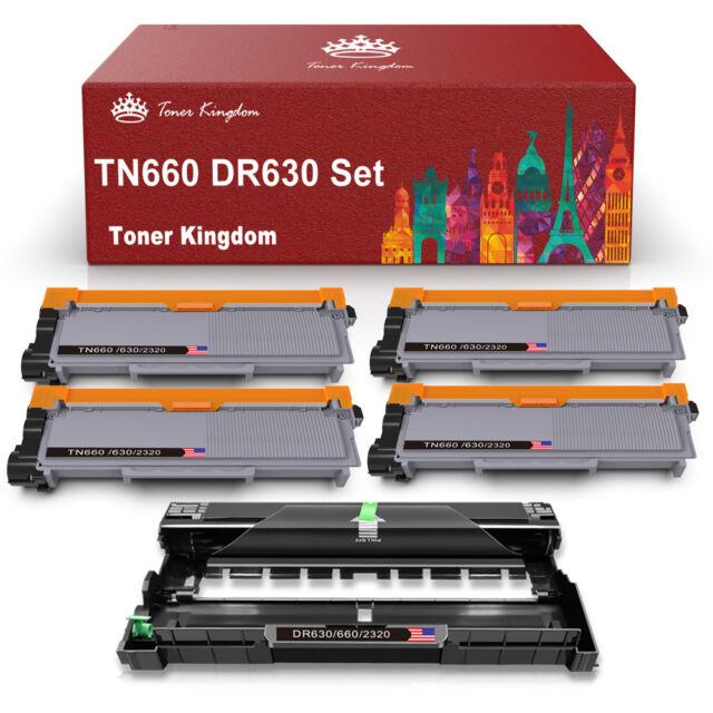 4 TN660 Toner For Brother DR660 HL-L2300D L2340DW MFC-2740DW 5 PK 1 DR630 Drum