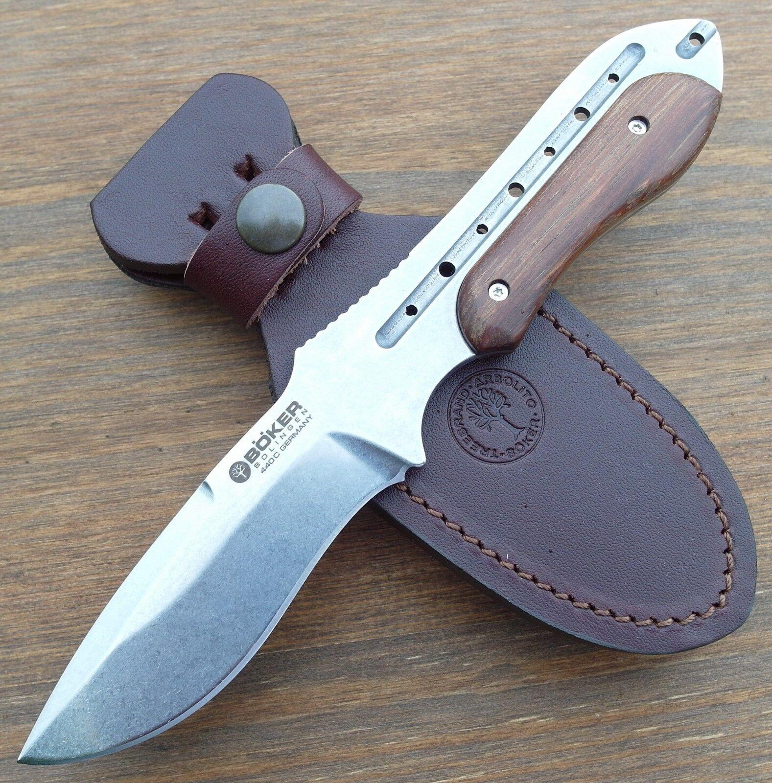 BÖKER - - - Mach 2 Wüsteneisenholz Messer Jagdmesser - Gürtelmesser + Lederscheide 2389fc