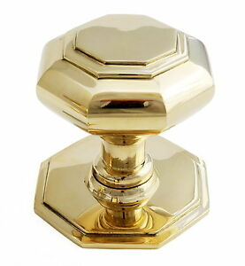 solid brass octagonal centre door knob pull antique front georgian