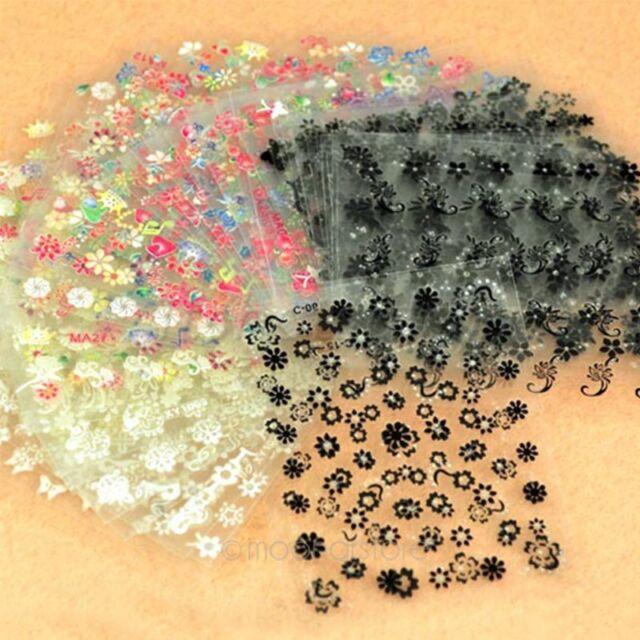 50x 3D Design Tip Nail Art Sticker Decal Manicure Mix Color Flower For Women
