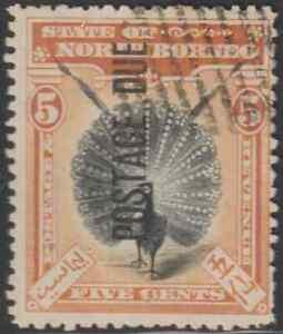 NORTH-BORNEO-1901-POSTAGE-DUE-5c-PHEASANT-BIRD-CTO-CAT-RM-135-AS-POSTALLY-USED