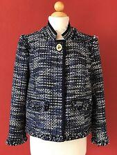 COACH Poppy Collection Blue Tweed Fringe Trim Jacket Size L