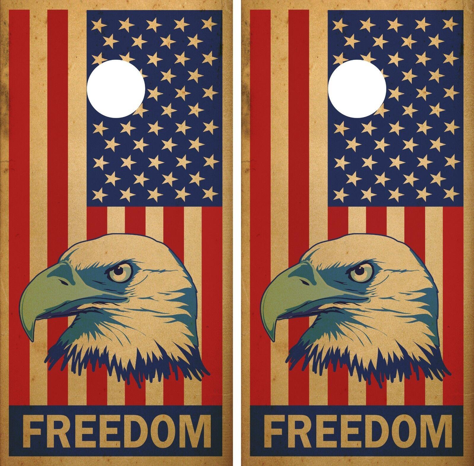American Flag and Eagle  Freedom  Vintage Cornhole Board Decal Wrap Wraps