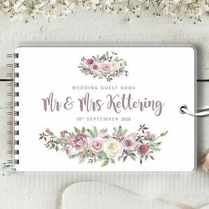 Personalised-Wedding-Guest-Book-Frosted-Rose-Blank-Message-Book-Photo-Album
