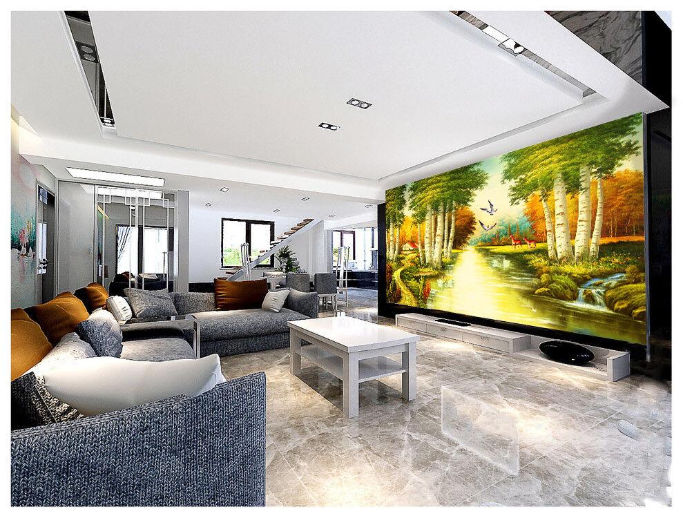 3D Tierischer Fluss Wald 87 Tapete Wandgemälde Tapete Tapeten Bild Familie DE
