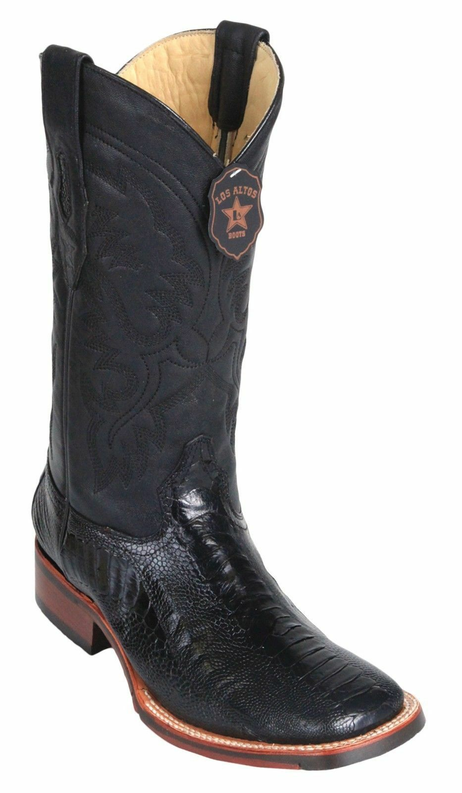 Los Altos BLACK Ostrich LEG Square Toe TPU Rubber Sole Western Cowboy Boot EE