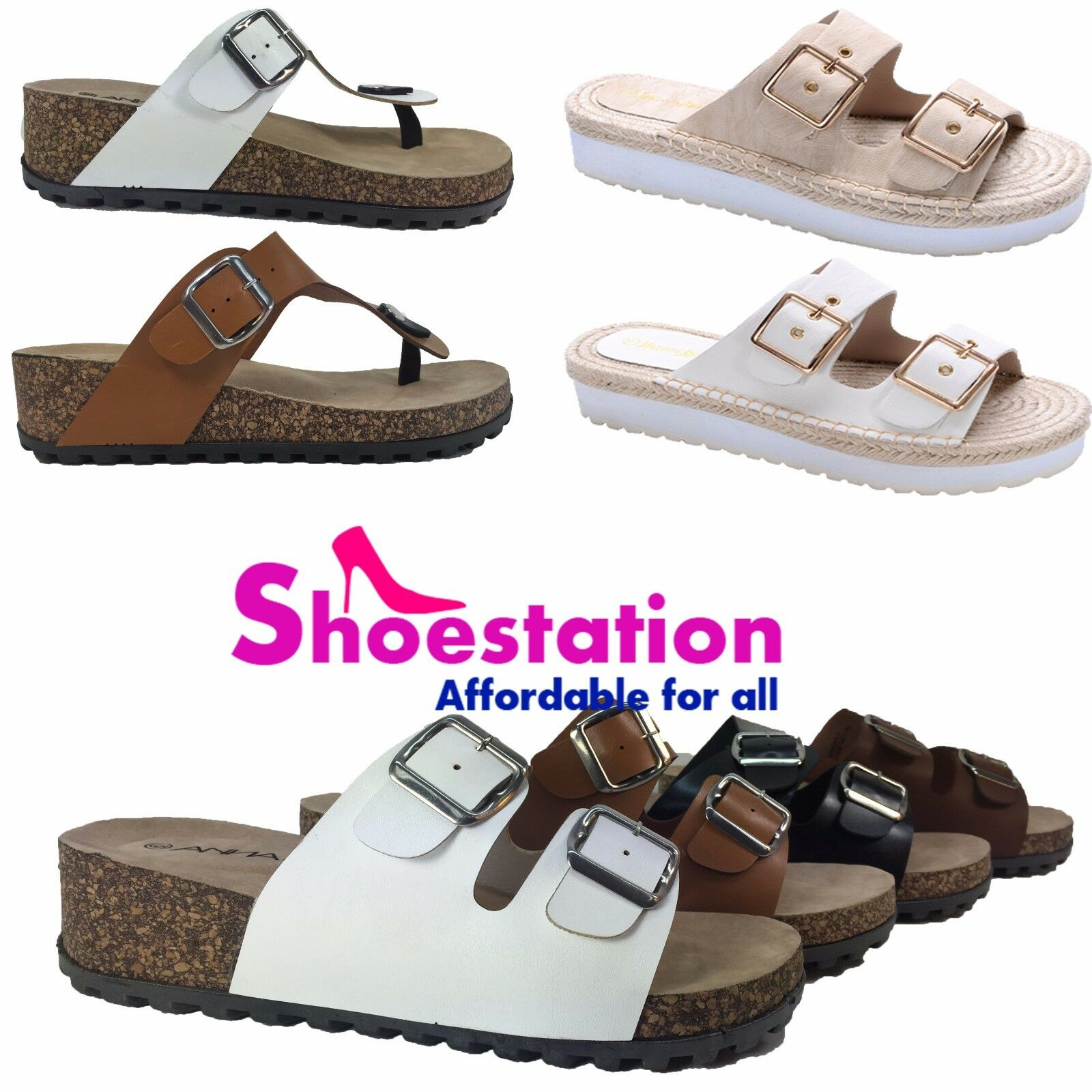 NEW Cork Women's Slide Buckle T-Strap Cork NEW Footbed Platform Flip Flop Shoes Sandals 462286