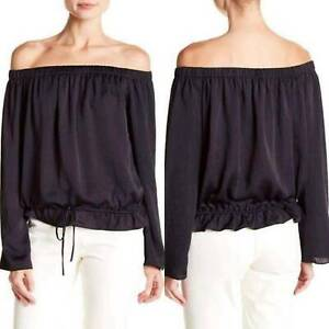 Theory Navy Blue Cotton Blend Off The Shoulder Top SZ S