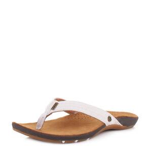 ec10be5cb Womens Reef Miss J-Bay Tan White Leather Flip Flops Toe Post Sandals ...