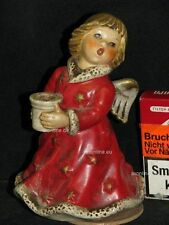 Goebel Porzellan Figur Engel Angel hält Kerzenständer, Musikwerk HX328 Sacrart