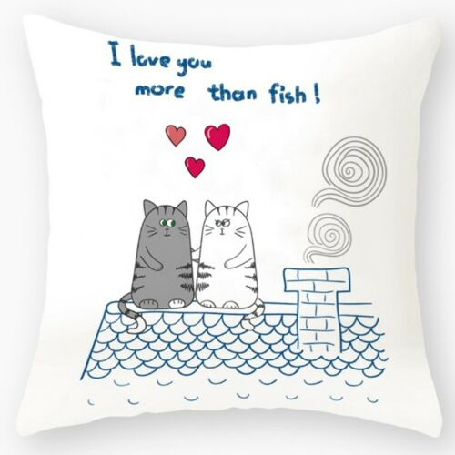 Happy Valentine/'s Day Cotton Throw Pillow Case Square Sofa Waist Cushion Cover