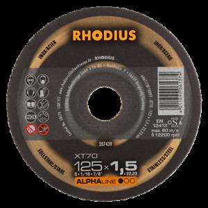 Disques à tronçonner inox ALPHALINE XT70 Ø125 x 1,5 x 22,23mm RHODIUS