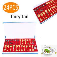 24pcs Metal Fairy Tail Lucy Celestial Spirit Gate Keys Necklace Pendant Gold