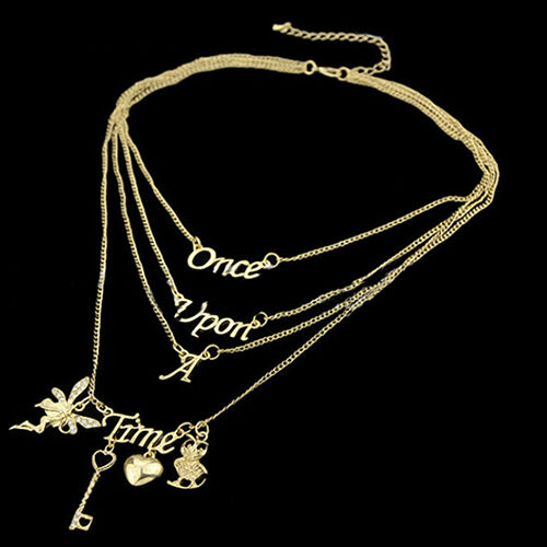 Women Rhinestone Fairy Key Love Heart Letter Pendant Charm Multilayers Necklace