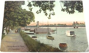 EARLY-1900s-ROCKHAMPTON-FITZROY-RIVER-IN-FLOOD-COLOUR-POSTCARD