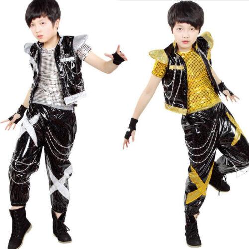 Kids Bright Modern Dance Tops+Pants BOYS Jazz Tap Performance Dancewear Costumes