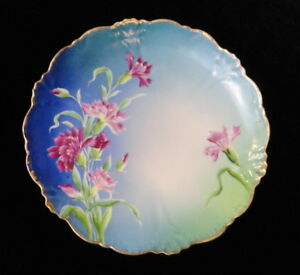 Antique-Hand-Painted-Wheelock-Imperial-Austria-8-5-034-CABINET-PLATE-Blue-Floral