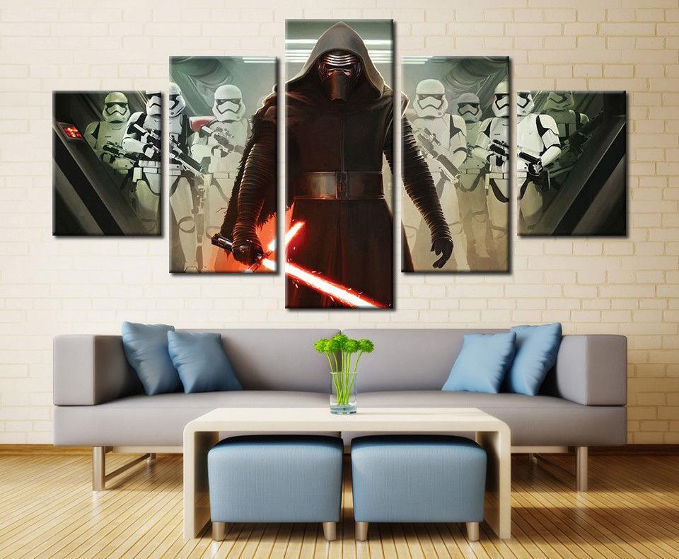 Kylo Ren Star Wars Storm Framed Canvas Five Piece Wall Art 5 Panel Home Decor