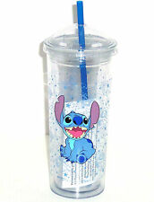 Disney Lilo Stitch Acrylic Travel Tumbler Reusable Straw Cup Theme Park Dome Lid