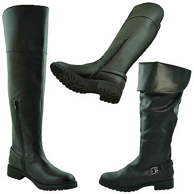 New Womens Faux Leather Over the Knee Riding Boots Buckle Accent Black
