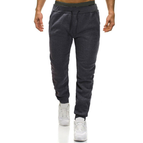 Mens Winter Warm Thick Pocket Jogger Pants Trousers Sweatpants Drawstring Pants