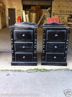 NEW HAND MADE x 2 BLACK 3 DRAWER BEDSIDE CABINET (NO FLAT PACKS) X 2