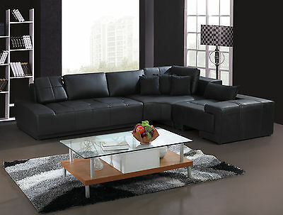 Awe Inspiring Franco Collection Modern L Shaped Leather Sofa Couch Black Or White With Pillows Ebay Download Free Architecture Designs Grimeyleaguecom